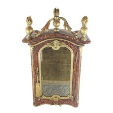 Charming 19C Faux Painted Miniature Vitrine Table Cabinet ~ Faux Painted  Tortoise and Marble ~ Load it with a TON of Treasures!