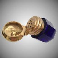 Antique Cobalt Vinaigrette ~ Gilt Silver Top ~ Exquisite Engraved Vinaigrette Top~ WOW! It is a BEAUTY!