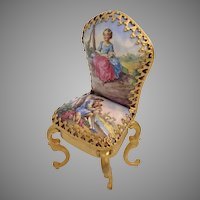 Antique Viennese Enamel Miniature Chair ~ Charming Pastoral Couple