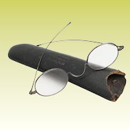Antique Eye Glasses in Silver Frames ~ Old Rushville New York Glass Case
