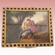 VINTAGE ESTATE  Italian Jeweled Compact ~ A Charming 1980's Beautiful Gilt Pastoral Couple ~ Bevel Glass Cover wOrate  Enamel Border
