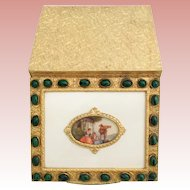 Vintage Estate Italian Jeweled Compact. A Charming  20th Century  Beautiful Gilt Oval Glass Covered Pastoral Scene