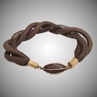 "Gorgeous 8"" Hair Mourning Bracelet  ""Three Pieces in a Twist and a Rare Oval Hair Gilt Bead"