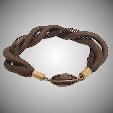 """Gorgeous 8"""" Hair Mourning Bracelet  """"Three Pieces in a Twist and a Rare Oval Hair Gilt Bead"""