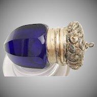 Antique Cobalt  Vinaigrette with Fancy Flora Gilt Silver Top ~ Exquisite Gilt Engraved Vinaigrette ~  Deep Rich Cobalt Color.
