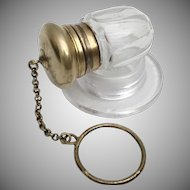 Antique Crystal Vinaigrette ~  Ornate Gilt Silver Top  ~ Exquisite Gilt Engraved Vinaigrette with a Finger Ring