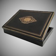 Napoleon III era Ebony Gaming Boulle Cartouche Box Casket ~  No Contents ~ The Hinged Ebony Box  has Two Trays~ AS IS!