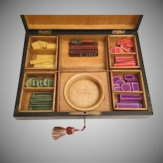 Big Antique Rosewood  Game Box ~  Loaded with Bone Colored Gaming Chips
