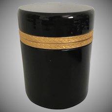 Antique French Black Glass Hinged Box ~ Pretty Ornate Gilt Mounts