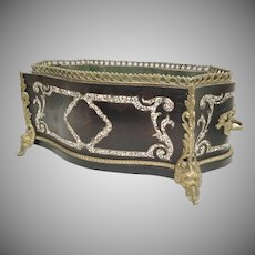 """GRAND 18""""  Antique French Jardiniere Planter ~ Mother of Pearl ~  Double Bronze Handle ~ Beautiful Figural Gilt Ormolu Footed Base"""