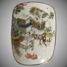 Vintage Estate Chinese Porcelain Box ~ Dome Top Porcelain Box