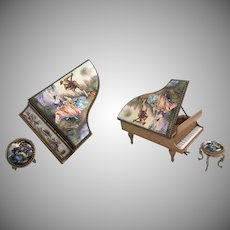 Magnificent Austrian Viennese Enamel Piano and Stool ~ Lovely Pastoral Scenes ~ Velvet Interior ~ The Piano is Stamped AUSTRIAN
