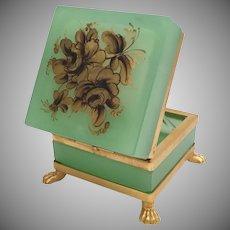 Green Opaline Casket with Paw Feet ~  Pretty Flowers and has Fabulous Dore' Bronze Mount ~ Paw Feet