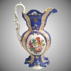 """Magnificent Old Paris 11"""" Pitcher ~ Pretty Flower and Awesome Blue Porcelain  ~ Stunning Gilding"""