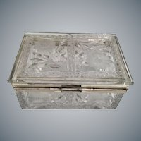 Vintage Estate Crystal  Casket Hinged Box w Silver-plate Mounts~   Pretty Cut and Etched  ~ Stunning Little Glass Feet