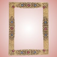 """Czech Bohemian Jeweled Table Top or Wall Frame ~  Jeweled Easel frame is  Ready with Glass  ~ 5 ½"""" x  3 ¾"""" Picture"""