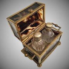Faux Tortoise Scent Casket ~ Twin Bottles ~ AS IS!