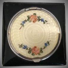 Wonderful Little Black Enamel Compact w Delicate Sweet Flowers on  Cream Enamel