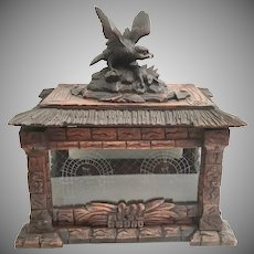 Antique Black Forest Tantalus Box with BIG BIRD.  AS IS!