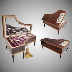 Beautiful Antique French Piano Palais Royal Etui Sewing Box ~ 8 Pieces