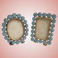 2 Antique Blue Opaline Picture Frames  ~ Easel Back Frames Circled in Blue Opaline Flowers ~ Ready for Your Photos