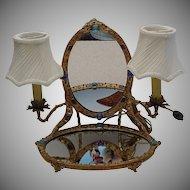 Rarest Antique  Austrian Jeweled Vanity w Twin Lamps
