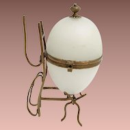 19C French Opaline Casket Hinged Box ~ Lovely White Opaline ~ AS IS!