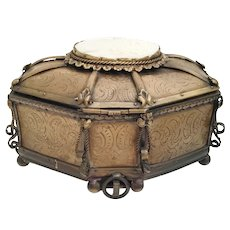 """Antique French Casket Hinged Box """" Exquisite Cameo Plaque """" Very Ornate Gilt Hinged Box ~ RARE Shape and Footed Base"""