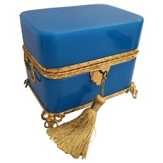 Grandest Antique French Double Handles Blue Opaline Casket Hinged Box ~ Exquisite Gilt Mounts and Footed Base ~ Amazing Rich Blue Opaline ~ You Must have this ONE!