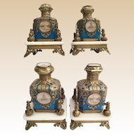 "GRANDEST PAIR Palais Royal Blue Opaline 10 ""Eglomise"" Perfume Bottles in Exquisite Ornate Holders ~  10 Eglomises"