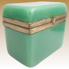 Antique French Green Opaline Hinged Box  ~  Beautiful Ornate Gilt Mounts and Rare Luscious Green Opaline ~ MAGNIFICENT