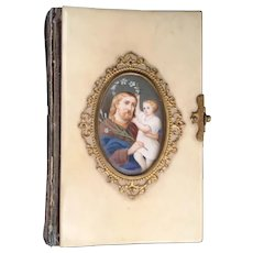 1856 Italian Prayer  Book w Beautiful Miniature ~ Celluloid  Cover with Divine Miniature Circled in Delicate  Gilt Ormolu Lace ~  Ornate Snap Closure.