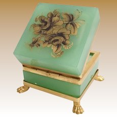 Antique French Green Opaline Casket with Paw Feet ~ Top is Covered in GOLD Flowers  ~  Fabulous Dore' Bronze Mounts and Ornate Paw Feet
