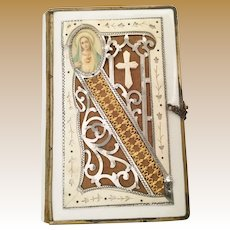 1888 Italian Prayer Book w Ornate Celluloid Cover ~ The Ornate Cover has a Cross  and Charms and a Beautiful Gilt Snap Closure