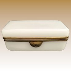 Antique French White Opaline Casket Hinged Box ~ Pretty Smooth Gilt Mounts ~ Unique  Rare Shape and Size ~A GEM Box from My Treasure Vault