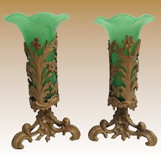 PAIR Antique Green Opaline Vases with a Gilt Ormolu Holder ~ Flared Tops Vases Resting in an Ornate Gilt Heavy Metal Stand