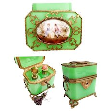 LAYAWAY Antique French Green Opaline Double Handle Scent Casket ~ Pastoral Porcelain Plaque and Exquisite Footed Base