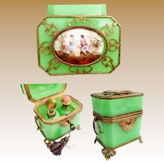 Antique French Green Opaline Double Handle Scent Casket ~ Pastoral Porcelain Plaque and Exquisite Footed Base