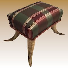 Antique Horn Foot Stool Covered in Plaid Silk Fabric ~ A Sweet and Sassy Foot Stool