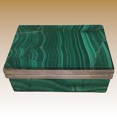 Antique Russian Malachite Hinged Box ~ Beautiful Malachite with White Metal  Mounts
