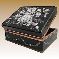 """8"""" Antique Moser Casket Hinged Box ~ BIG Black Glass Hinged Box  ~  Awesome  Hand Enamel White Flowers and Draped Flower Garland"""