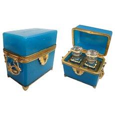 "Beautiful Antique French Double Handle Blue Opaline  Scent Casket  "" Twin Baccarat Scent Bottles"""