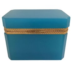 "Magnificent Antique Turquoise Blue  Opaline Casket with Awesome Ornate Mounts Gilt Mounts. ~  Rectangular Shape with ½"" Clipped Corners ~  Rare and Hard to Find Turquoise Color."