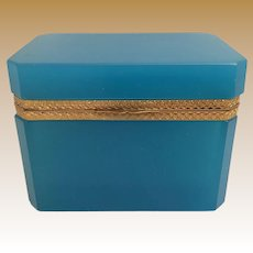 """Magnificent Antique Turquoise Blue  Opaline Casket with Awesome Ornate Mounts Gilt Mounts. ~  Rectangular Shape with ½"""" Clipped Corners ~  Rare and Hard to Find Turquoise Color."""