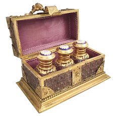"""Antique French Scent Casket ~  Fitted with 3 Exquisite  Jeweled  Kiln-fired Enamel Top  Scent Bottles  """"14 Tiny Little White Opaline Gems"""""""