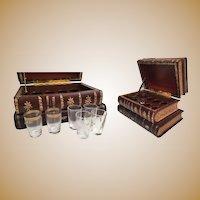 Wonderful Antique French Leather Bound Books Liquor Tantalus ~ Four Leather Books Tantalus
