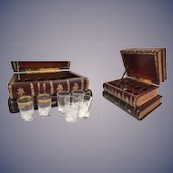 Wonderful Antique French Leather Bound Books Liquor Tantalus ~ Four Leather Books Tantalus
