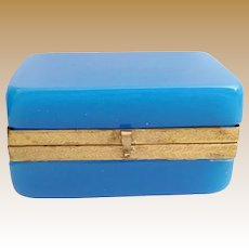 Stunning Blue Opaline Hinged Box ~ Wide Fancy Mounts and S Clasp ~ BIG Rectangular Shape with Smooth Curve Corners