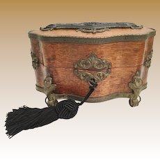 Palais Royal  Oak Casket wExquisite  Gutta Percha Plaque  ~  Stunning Gilt Ormolu and Beautiful Footed Base