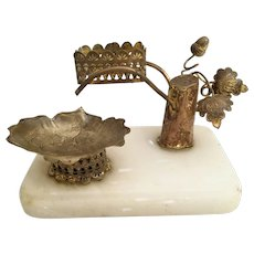 Palais Royal Perfume Holder and Trinket Dish ~  Alabaster Plinth with a Stunning Gilt Ormolu Tree